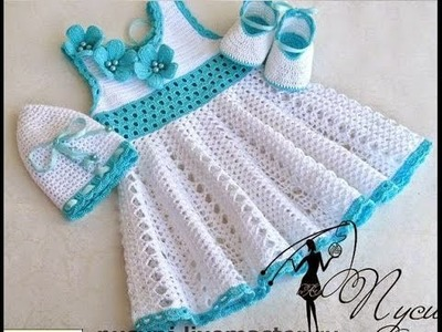 Crochet dress| How to crochet an easy shell stitch baby. girl's dress for beginners 10