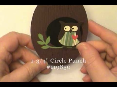 Gate Fold Latch Owl Card w.Stampin' Up! Scallop Oval Frame - Dawn O