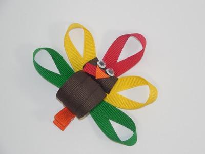 How To Make A Turkey Hair Bow.Clip