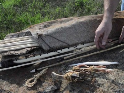 How to make an Otzi the Iceman Arrow Quiver for primitive archery hunting.