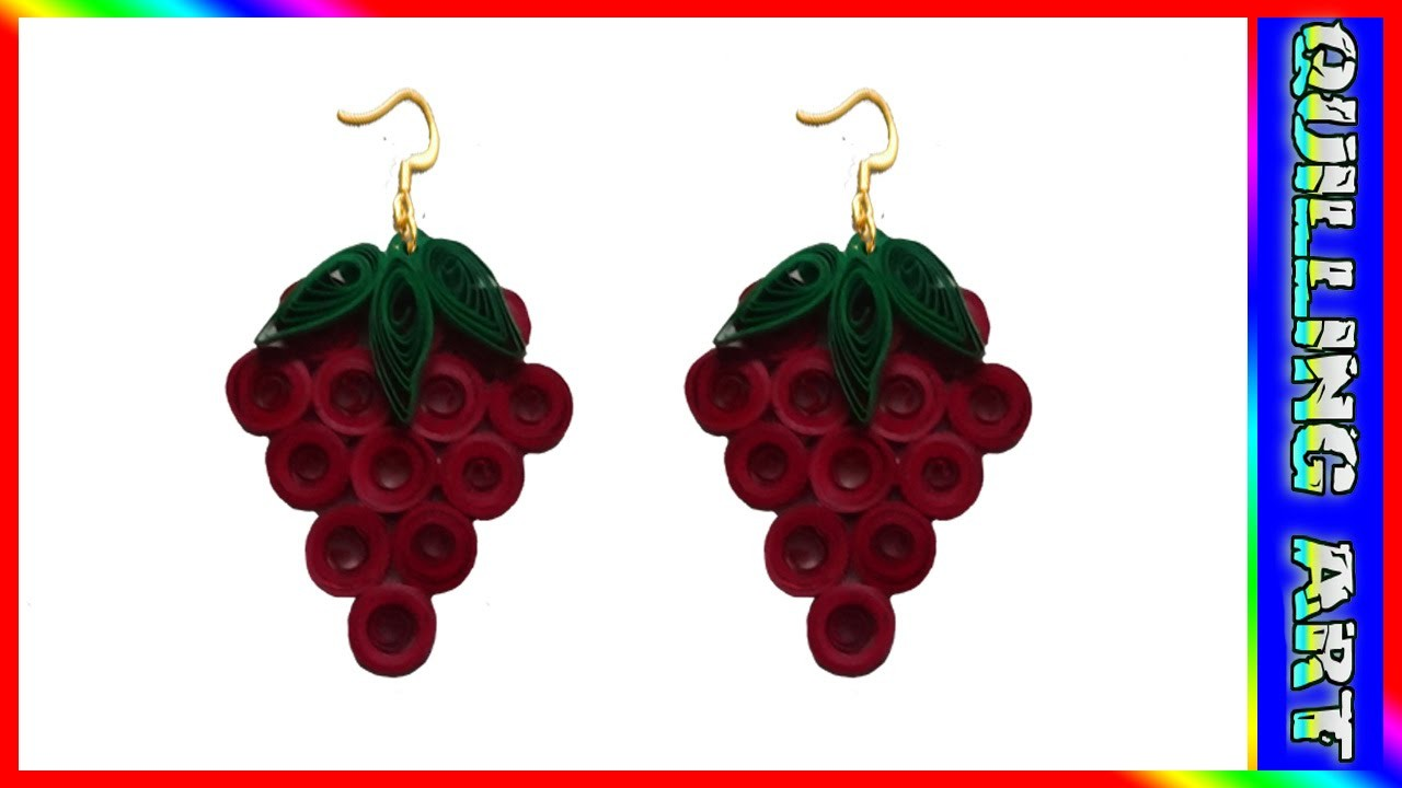How to make paper quilling -strawberry earrings(red and green)