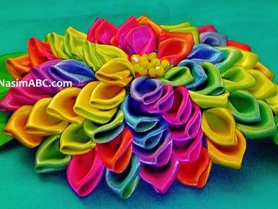 Rainbow Dahlia Ribbon Flower Tutorial Youtube