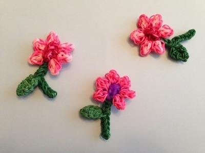 Rainbow Loom FLOWER Charm with stem and LEAF For Mother's Day