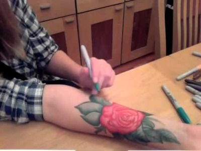 Rose - Sharpie tattoo (Time lapse)