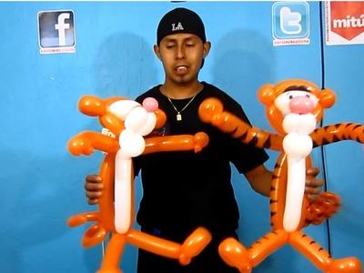 Tigger de globos - tigger balloon twisting- Decoraciones con globos