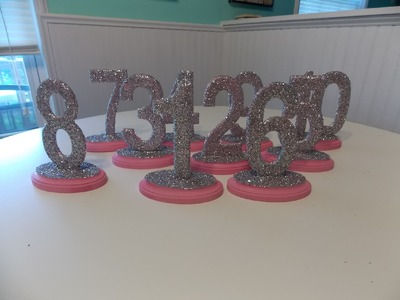 DIY Glitter Wedding Table Numbers