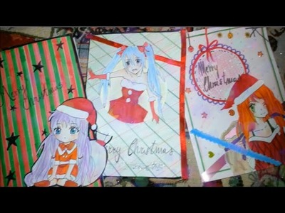 DIY: How to make 3 different anime.manga Christmas cards
