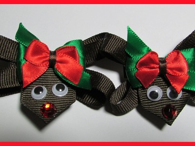 DIY - How to make Christmas Hair Bow Clips No.1- Reindeer Hair Bows - Free Tutorial