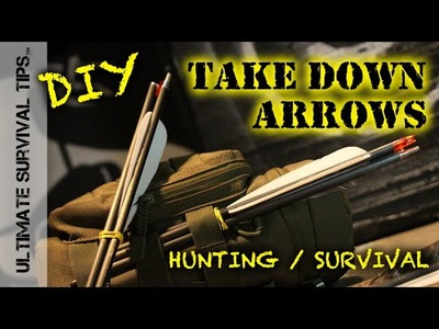 DIY - Make 2 or 3 Piece Take Down Arrows for Archery. Survival Bow. Hunting - Two Three Piece