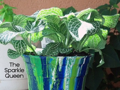 DIY Paint Layer Drip Garden Pot Tutorial by The Sparkle Queen
