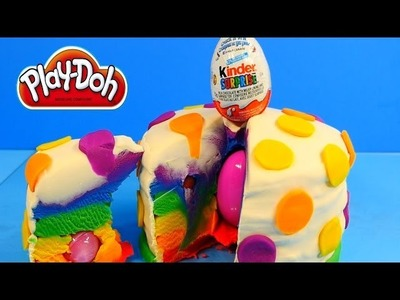 How To Make Playdough Kinder Surprise Egg Rainbow Cake - DIY Play Doh Cake with Toys