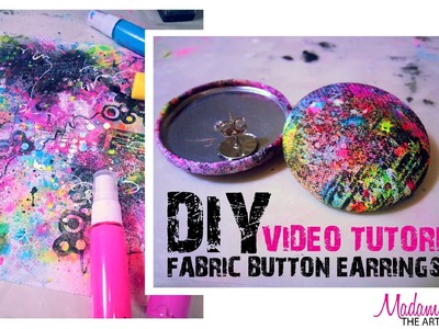 Mixed Media Meets Retro: (80's inspired) DIY Fabric Button Earrings