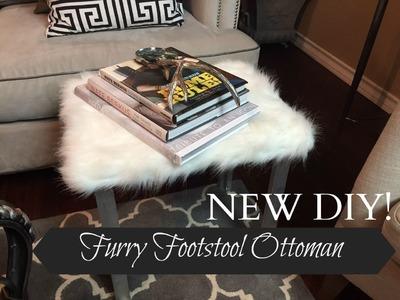 NEW DIY!  Faux Furry Footstool Ottoman