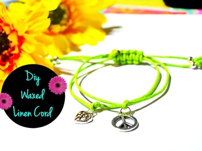 Easy DIY Waxed Linen Cord Charm Bracelet