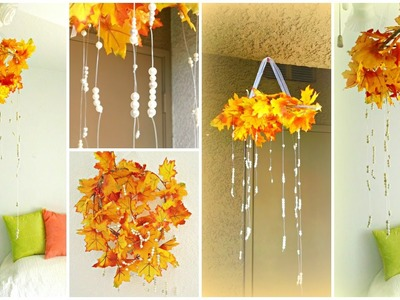 Fall Decor DIY: Fall Leaves Chandelier!