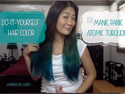 Manic Panic Atomic Turquoise DIY Hair Color on Black Hair