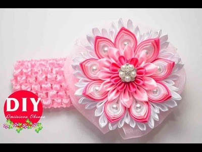 Master-class Kanzashi. DIY. Needlework. Headband Kanzashi. Flowers Kanzashi.