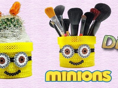 Minion Porta Vaso.Pennelli con Hama Beads.Diy Flower Pot Pencil Holder