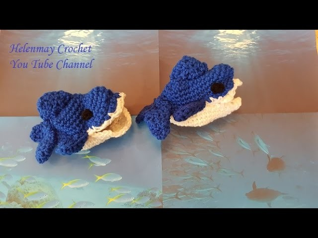 Crochet Quick and Easy Beginner Baby Shark Sock Slippers DIY tutorial