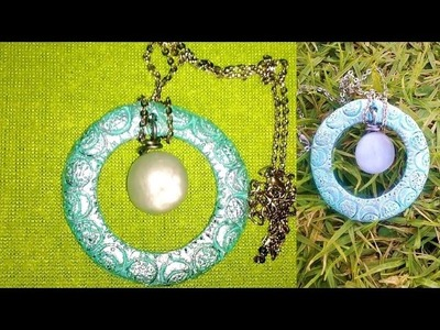 DIY summer jewelry: Turquoise pendant with a sea-glass gem, air-dry clay tutorial