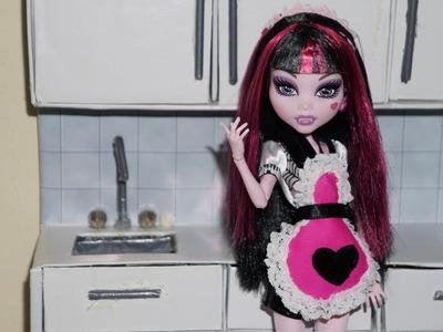 Como fazer avental e tiara para boneca Monster High, Barbie e etc