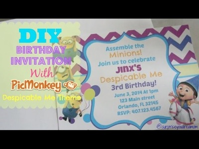 DIY Birthday Invitation With PicMonkey Despicable Me Theme