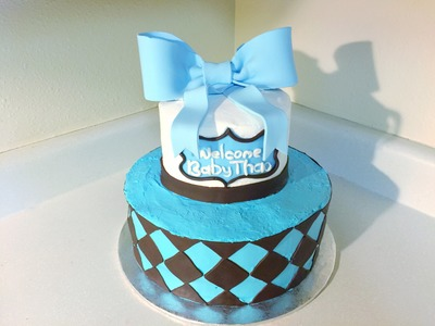 DIY do it yourself easy tutorial of baby shower cake with cute big bow