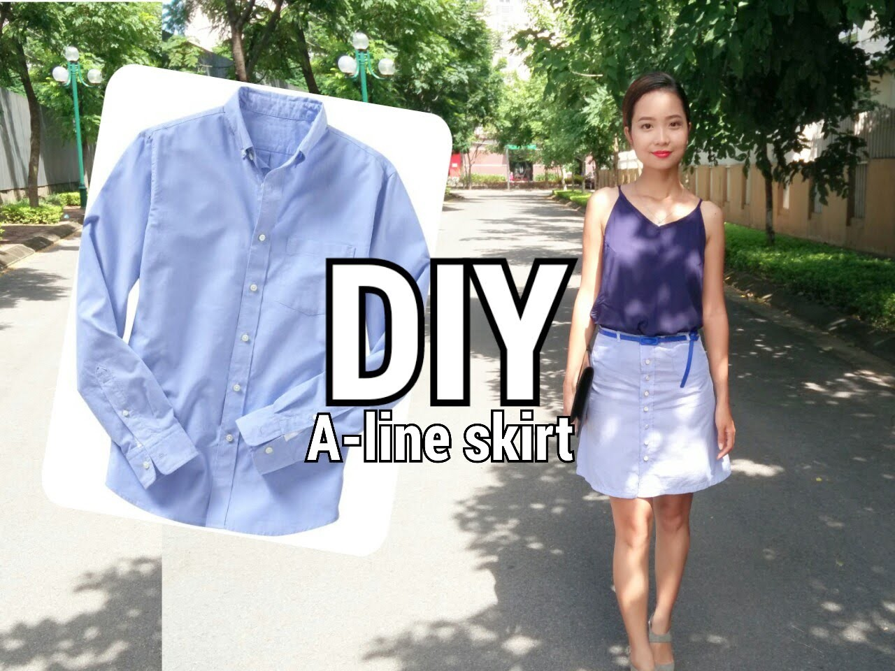 DIY From His to Hers| Make Button Front A-line Skirt From Man's Shirt