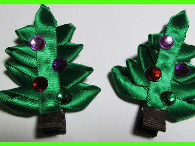 DIY - How to make Christmas Hair Bow Clips No.2 - Christmas Tree Hair Bows - Free Tutorial