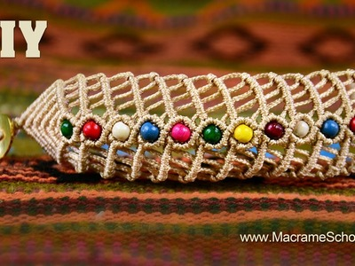 DIY Macramé Fishbone Bracelet with Beads