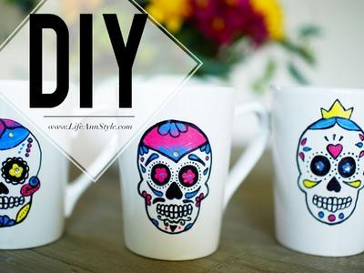 DIY Painted Sugar Skull Mug    ANNEORSHINE