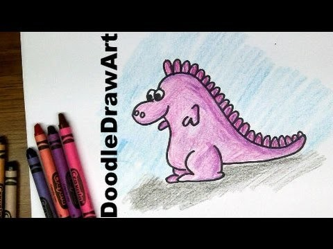 Drawing: How To Draw a Cartoon Baby Dragon - Easy Drawing Tutorial!  [HD]