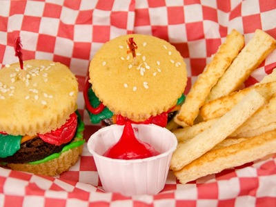 Hamburger Cupcakes and French Fries from Cookies Cupcakes and Cardio
