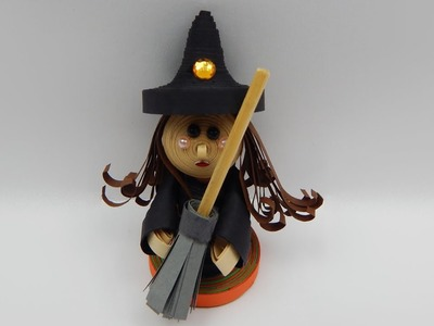 How to make a 3D quilling doll halloween witch with broom DIY (tutorial + free pattern)