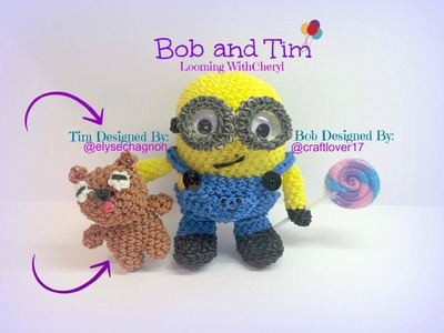 Rainbow Loom TIM, Bob's Teddy Bear - Minion - Loomigurumi. Amigurumi Looming withCheryl