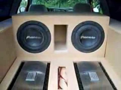 """2 12"""" Pioneer Subwoofers in golf gti with 2 1500 watts Amps.High excursion."""