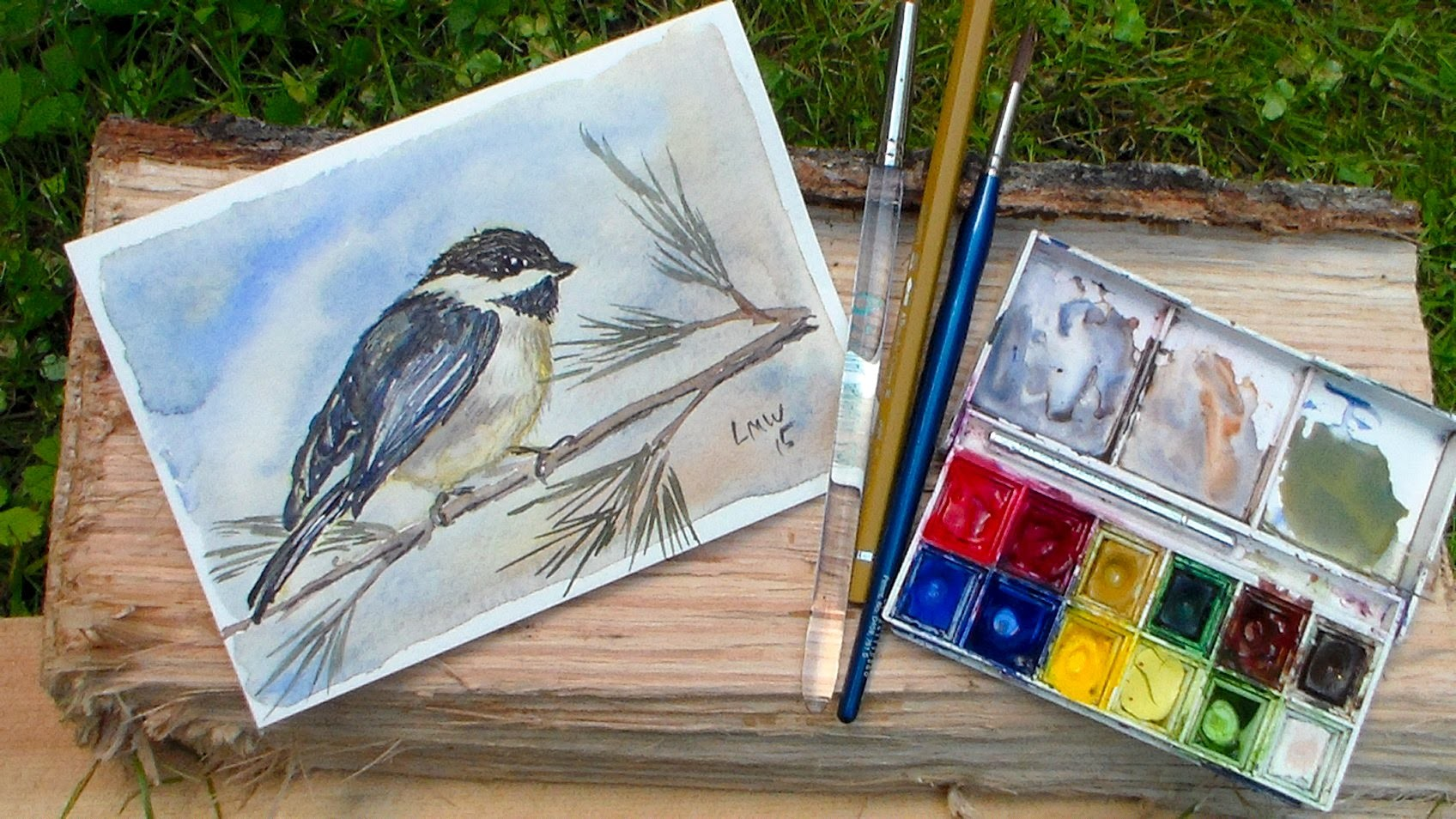 Chickadee Watercolor Tutorial-REAL TIME, 3 colors, BEGINNER:)