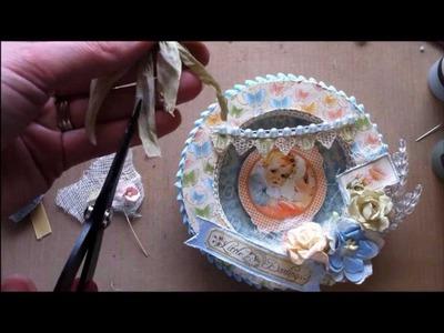 Circle Shadow Box Easel Card Tutorial (Part 2 of 2 - Embellishing)