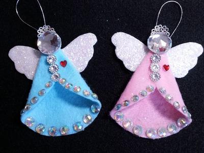 DIY~Sparkling Vintage.Retro Felt Angel Ornament!