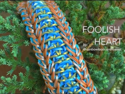 FOOLISH HEART Rainbow Loom bracelet tutorial