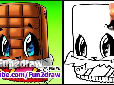 How to Draw Cute Cartoons - Chocolate Bar - Fun2draw kawaii food