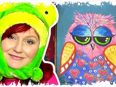 How to paint acrylics for beginners Funny Owl Online acylic lesson How to paint a little Hoot