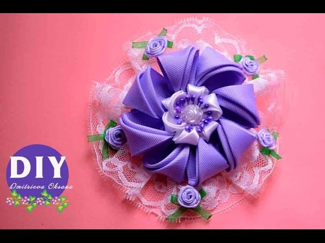 Master-class Kanzashi. DIY. Needlework. Scrunchy Kanzashi. Flowers Kanzashi