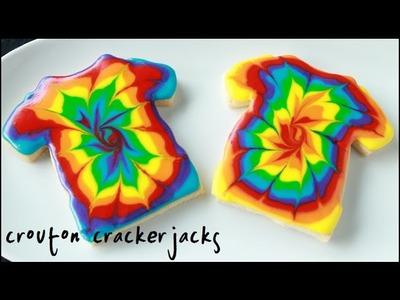 Rainbow Tie-Dye T-Shirt Sugar Cookies!! - How to Make Tie Dye Cookies