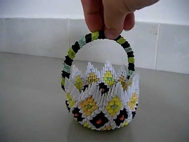 3D Origami Flower Basket