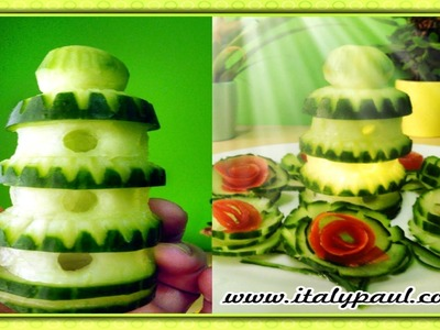 Art In Cucumber Show - Vegetable Carving Tower Garnish