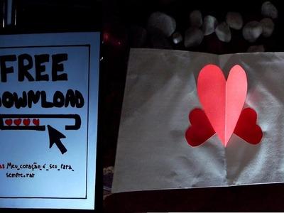 DIY - Cartão coração pop up - Especial Dia dos Namorados