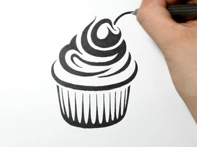 How to Draw a Cupcake - Tribal Tattoo Design - Real Time