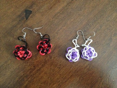 How to make Rubber Band flower earrings