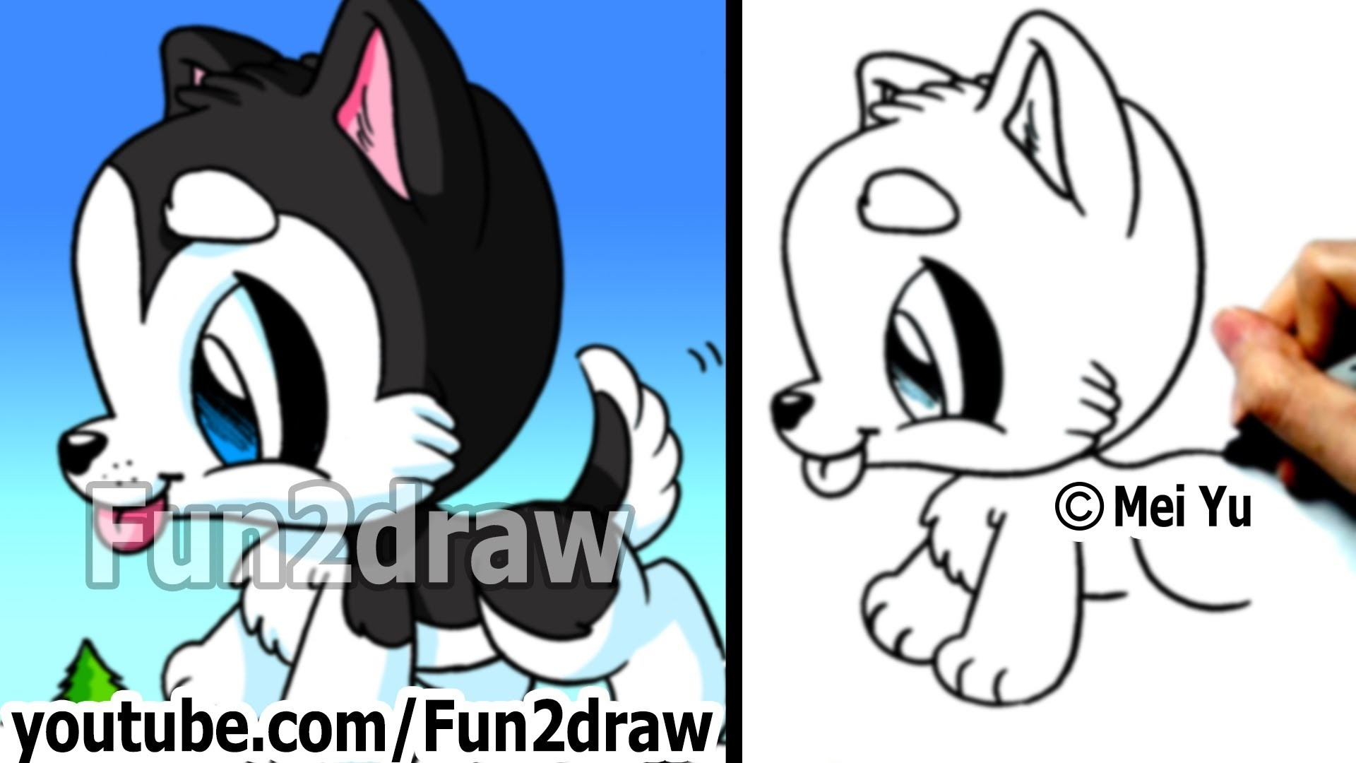 Husky Puppy - How to Draw a Dog (Simple drawing tutorial) - Best Drawing Channel - Fun2draw
